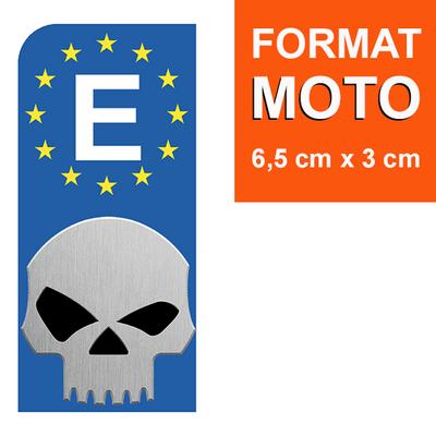 1 sticker pour plaque d'immatriculation MOTO, espagne, HARLEY DAVIDSON SKULL