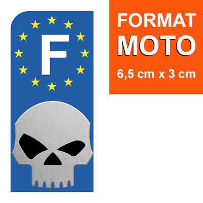 1 sticker pour plaque d'immatriculation MOTO, Skull