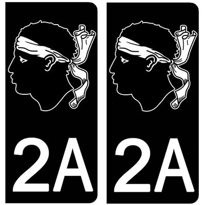 2 stickers pour plaque d'immatriculation pour Auto, 2A Corse NOIR