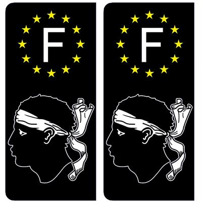 2 stickers pour plaque d'immatriculation pour Auto, LA CORSE NOIR