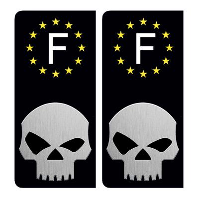 2 stickers pour plaque d'immatriculation pour Auto, SKULL NOIR