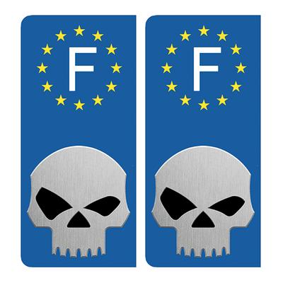 2 stickers pour plaque d'immatriculation pour Auto, SKULL