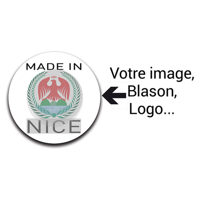 Stickers personnalisés, rond, 100% MADE IN ..., sachet de 28 stickers