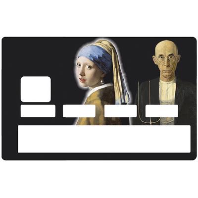Sticker pour carte bancaire, la jeune fille et le paysan