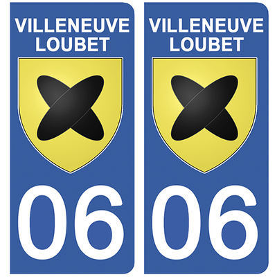 2 stickers pour plaque d'immatriculation pour Auto, 06 VILLENEUVE LOUBET