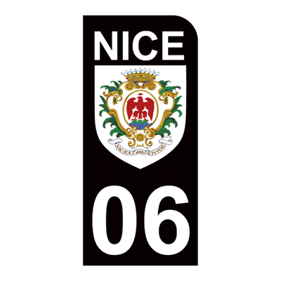 1 sticker pour plaque d'immatriculation MOTO , Blason de Nice 06, noir