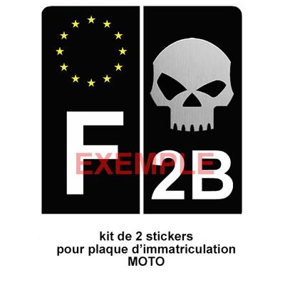 Set de 2 stickers pour plaque d'immatriculation MOTO, SKULL Noir