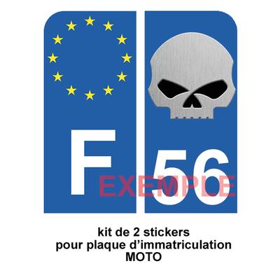 Set de 2 stickers pour plaque d'immatriculation MOTO, SKULL bleu