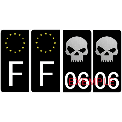 Set de 4 stickers pour plaque d'immatriculation AUTO, SKULL, noir