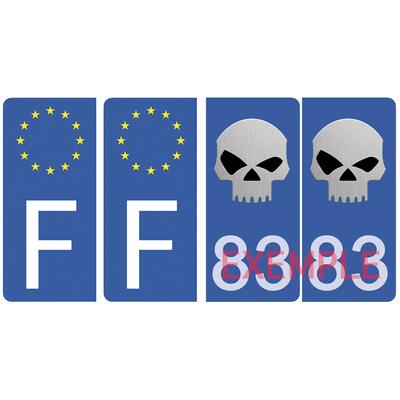 Set de 4 stickers pour plaque d'immatriculation AUTO, SKULL, bleu