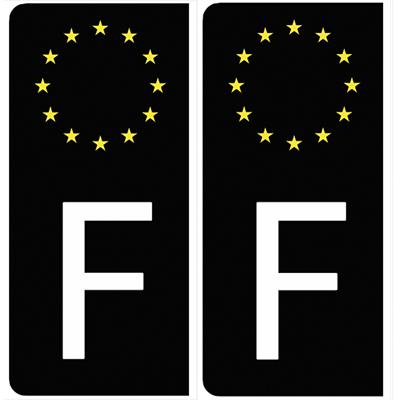 Set de 2 stickers pour plaque d'immatriculation AUTO, Euroband France, noir