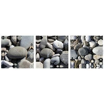 Tryptique,  Les galets des plages Niçoises,  Dim: 50 cm x 50 cm
