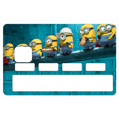Stickers décoratif pour carte bancaire,  les minions Lunch au Rockfeller center