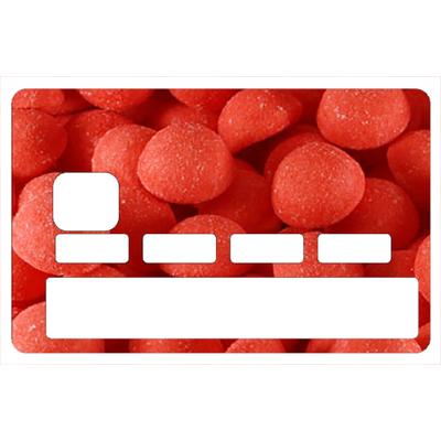 Sticker pour carte bancaire, hommage aux Fraises tagada