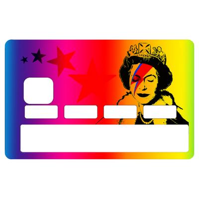 Sticker pour carte bancaire, hommage à Bowie Vs Banksy rainbow
