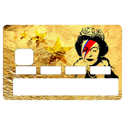Sticker pour carte bancaire, Tribute to Bowie Vs Banksy gold