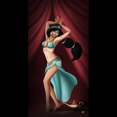 Impression sur toile, 50 cm x 100 cm, Jasmine Pin Up de Damien Garavagno