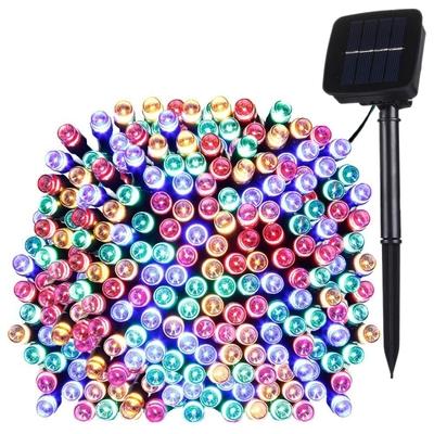 Guirlande lumineuse multicolor, SOLAIRE,  100 LED, eclairage fixe ou clignotant - L. 11,90 m
