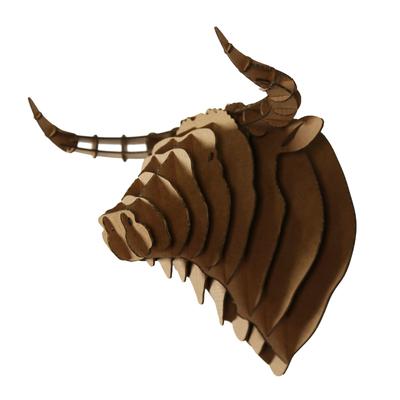 Trophée animalier, Puzzle 3D en carton à monter, tête de taureau