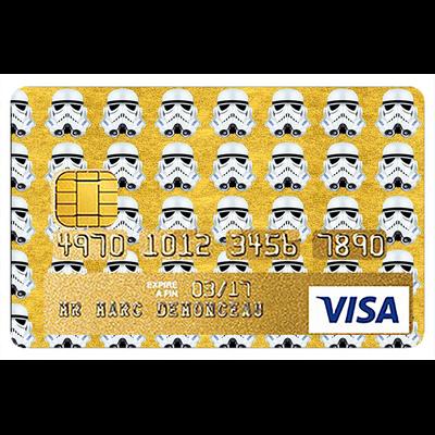 Sticker pour carte bancaire, hommage à Stormtrooper GOLD