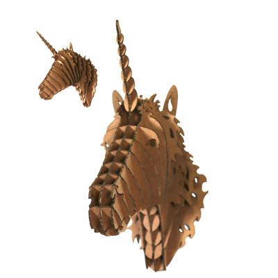 Trophée animalier, Puzzle 3D en carton à monter, La Licorne