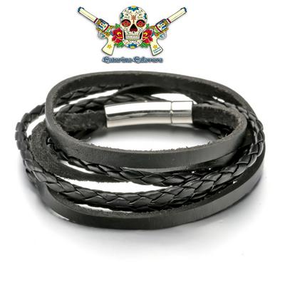 Bracelet Homme ou femme, en cuir, EL PASO triple tours