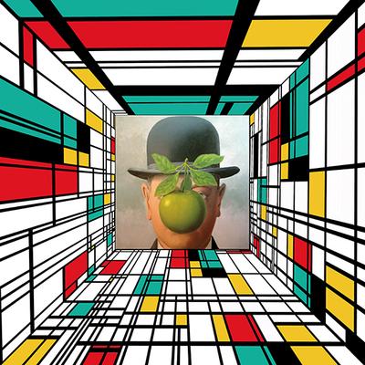 Impression sur toile, Mondrian rencontre l'homme au chapeau de Magritte