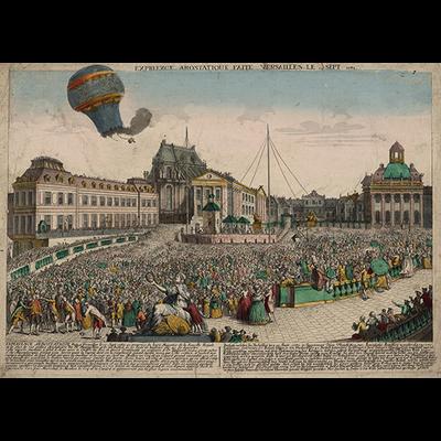Paris, le premier vol en montgolfi're en 1783, Dimensions: 50 cm x 70 cm