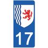 2 stickers pour plaque d'immatriculation pour Auto, 17 Charente Maritime