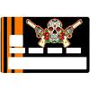 Sticker pour carte bancaire, Catarina Calavera, la santa muorte, black & orange, créé par le DgedeNice