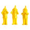 Les 3 Nains de Ottmar Hörl qui ne veulent pas voir, parler ou entendre, jaune