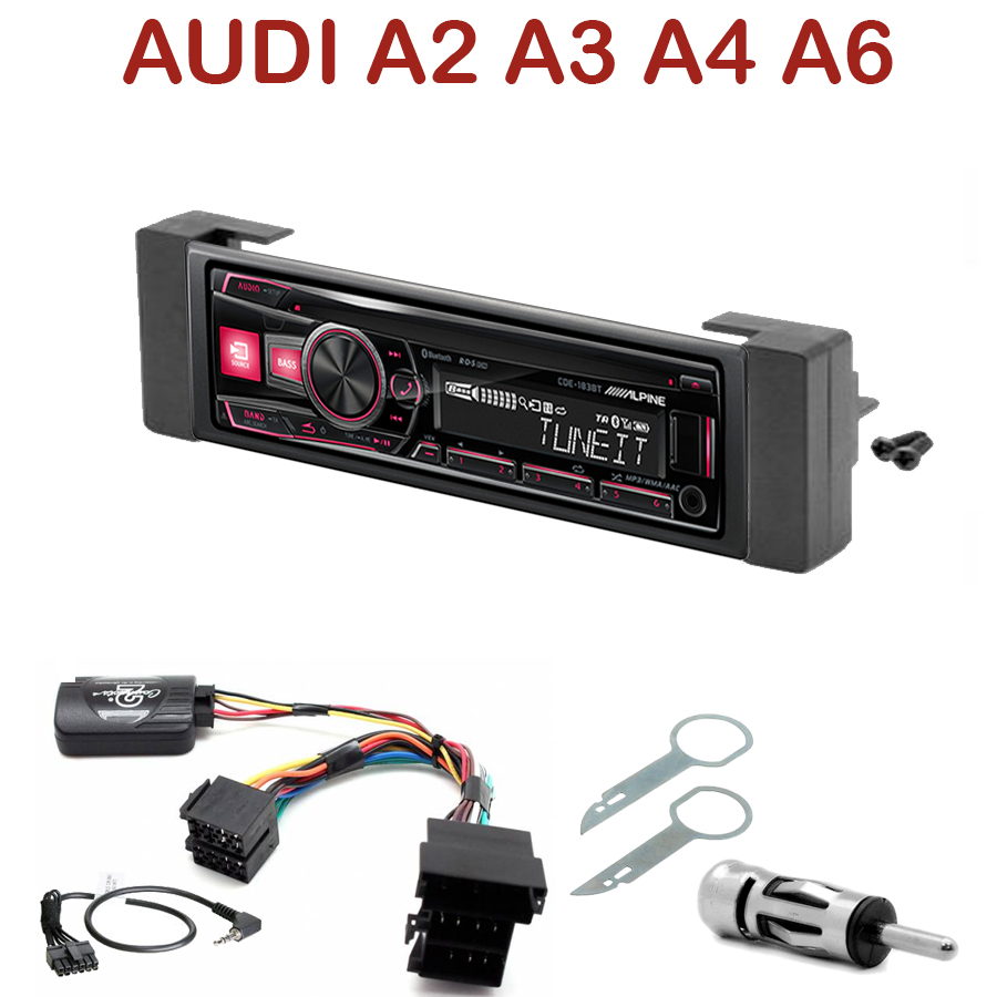 autoradio 1 din audi a2 a3 a4 a6 poste cd usb mp3 bluetooth alpine audi autoradios. Black Bedroom Furniture Sets. Home Design Ideas