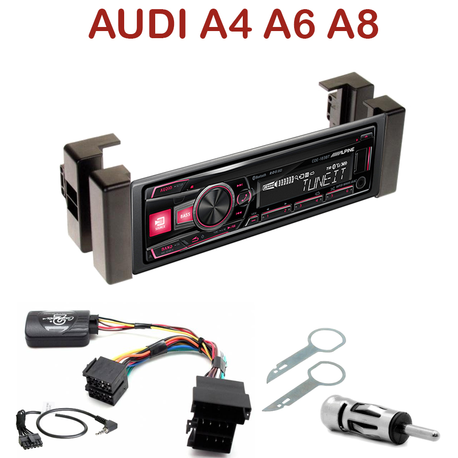 autoradio 1 din audi a4 a6 a8 poste cd usb mp3 bluetooth alpine audi autoradios. Black Bedroom Furniture Sets. Home Design Ideas