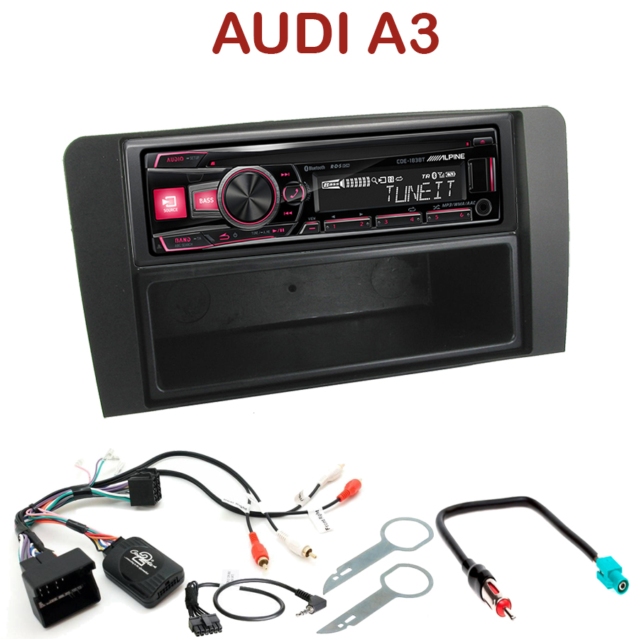 autoradio 1 din audi a3 poste cd usb mp3 bluetooth. Black Bedroom Furniture Sets. Home Design Ideas