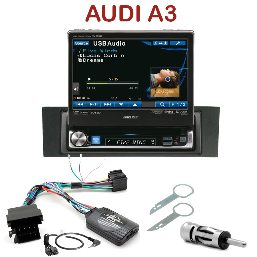 autoradio 1 din motoris alpine poste ccd dvd mp3 wma audi a3 autoradios. Black Bedroom Furniture Sets. Home Design Ideas