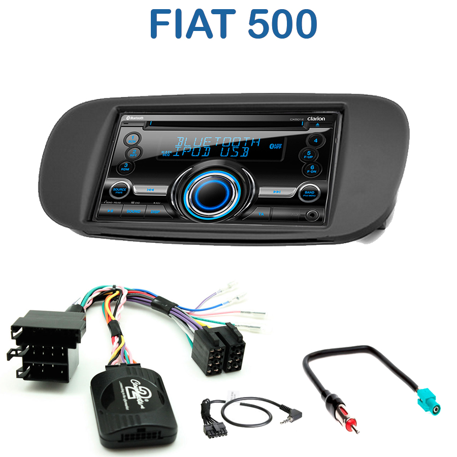 autoradio 2 din clarion poste cd usb mp3 wma fiat 500 autoradios. Black Bedroom Furniture Sets. Home Design Ideas