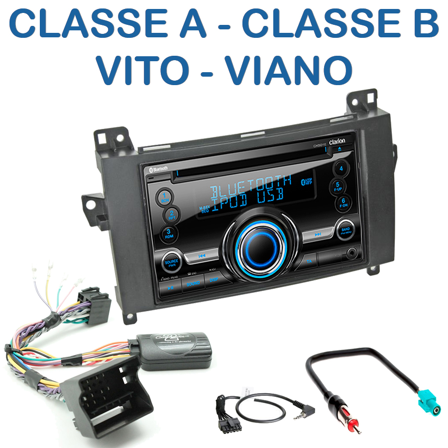 autoradio 2 din clarion poste cd usb mp3 wma mercedes classe a classe b viano vito. Black Bedroom Furniture Sets. Home Design Ideas