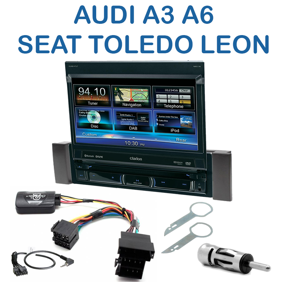 autoradio clarion 1 din gps cran motoris audi a3 a6 seat leon toledo autoradios. Black Bedroom Furniture Sets. Home Design Ideas