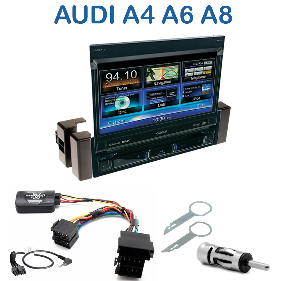 autoradio clarion 1 din gps cran motoris audi a4 a6 a8 autoradios. Black Bedroom Furniture Sets. Home Design Ideas