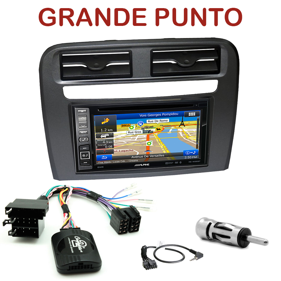 autoradio gps navigation double din fiat grande punto usb bluetooth autoradios gps. Black Bedroom Furniture Sets. Home Design Ideas