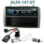 Poste 1-DIN CD/USB/Bluetooth Alfa Romeo 147 de 2000 à 2009 & GT depuis 2005 - façade grise - autoradio JVC et Kenwood au choix