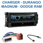 Poste 1-DIN CD/USB/Bluetooth Dodge Charger, Durango, Magnum & Ram - autoradio JVC et Kenwood au choix