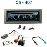 Poste 1-DIN CD/USB/Bluetooth Citroën C5 de 11/2004 à 03/2008 & Peugeot 407 de 04/2004 à 12/2010 - autoradio JVC et Kenwood au choix