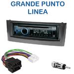 Poste 1-DIN CD/USB/Bluetooth Fiat Grande Punto depuis 2005 & Linea depuis 2007 (façade noire ou grise) - autoradio JVC et Kenwood au choix