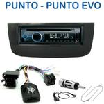 Poste 1-DIN CD/USB/Bluetooth Fiat Punto Evo de 2009 à 2012 & Punto depuis 2012 - autoradio JVC et Kenwood au choix