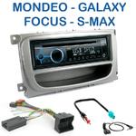 Poste 1-DIN CD/USB/Bluetooth Ford Mondeo, Focus, C-Max, S-Max & Galaxy (façade argentée ou noire) - autoradio JVC et Kenwood au choix