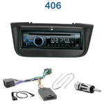 Poste 1-DIN CD/USB/Bluetooth Peugeot 406 de 11/1995 à 07/2005 & 406 Coupé de 04/1997 à 07/2005 - autoradio JVC et Kenwood au choix