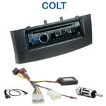 Poste 1-DIN CD/USB/Bluetooth Mitsubishi Colt depuis 11/2008 - autoradio JVC et Kenwood au choix