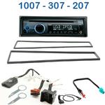 Poste 1-DIN CD/USB/Bluetooth Peugeot 207 de 2006 à 2012, 307 de 2001 à 2007 & 1007 de 2005 à 2010 - autoradio JVC et Kenwood au choix