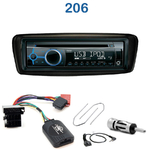 Poste 1-DIN CD/USB/Bluetooth Peugeot 206 de 1999 à 2007 - autoradio JVC et Kenwood au choix